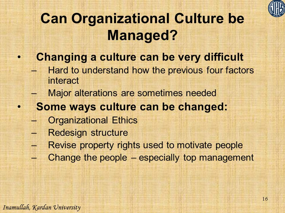 Inamullah, Kardan University Can Organizational Culture be Managed? Changing a culture can be very difficult –Hard to understand how the previous four