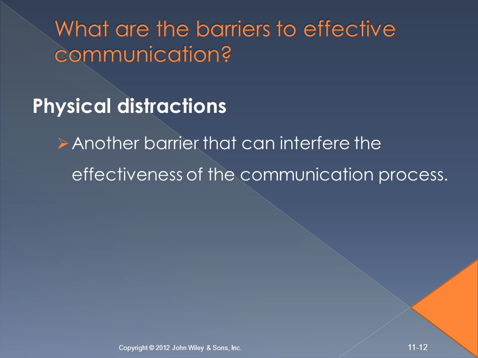Physical distractions  Another barrier that can interfere the effectiveness of the communication process.