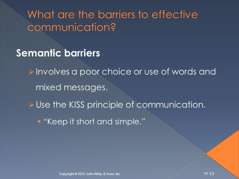 Semantic barriers  Involves a poor choice or use of words and mixed messages.