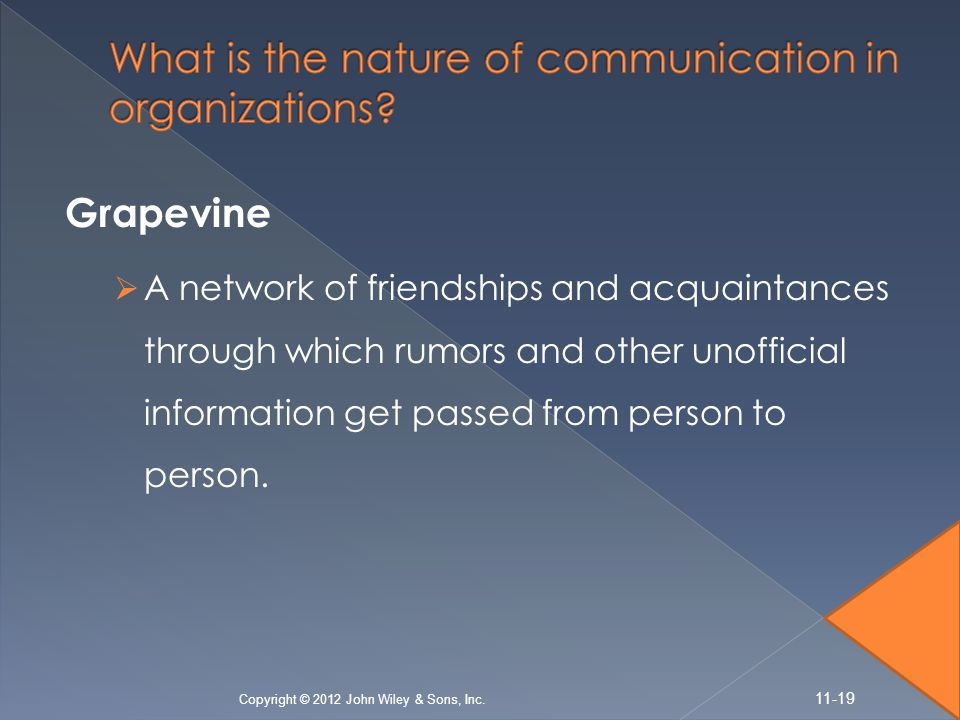 Grapevine  A network of friendships and acquaintances through which rumors and other unofficial information get passed from person to person.