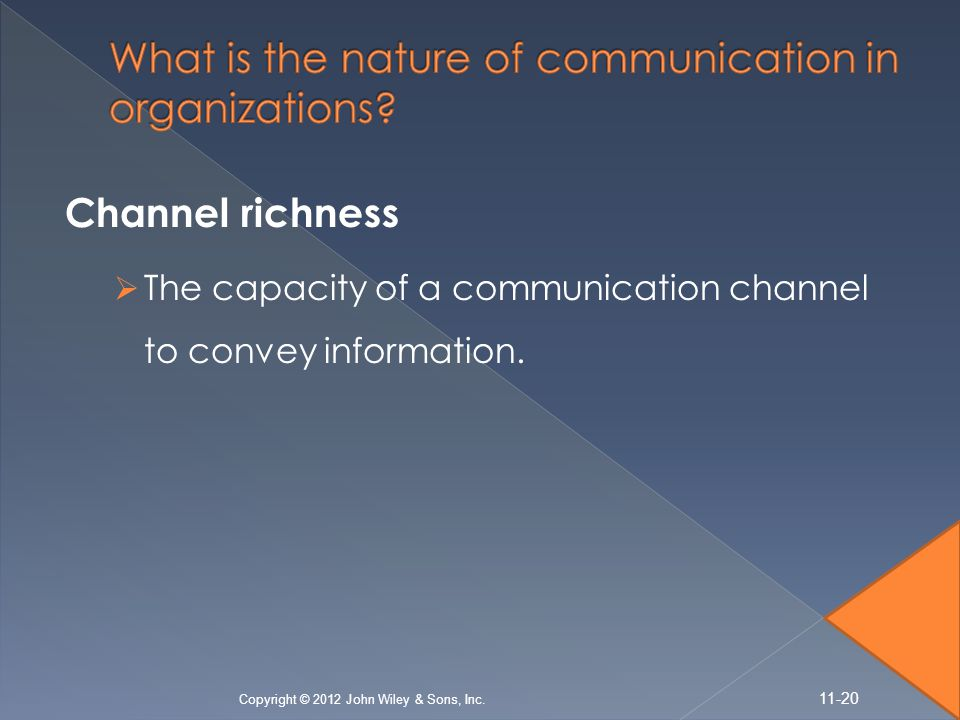 Channel richness  The capacity of a communication channel to convey information.