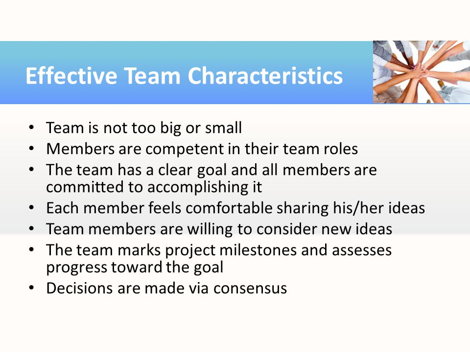 Team is not too big or small Members are competent in their team roles The team has a clear goal and all members are committed to accomplishing it Eac