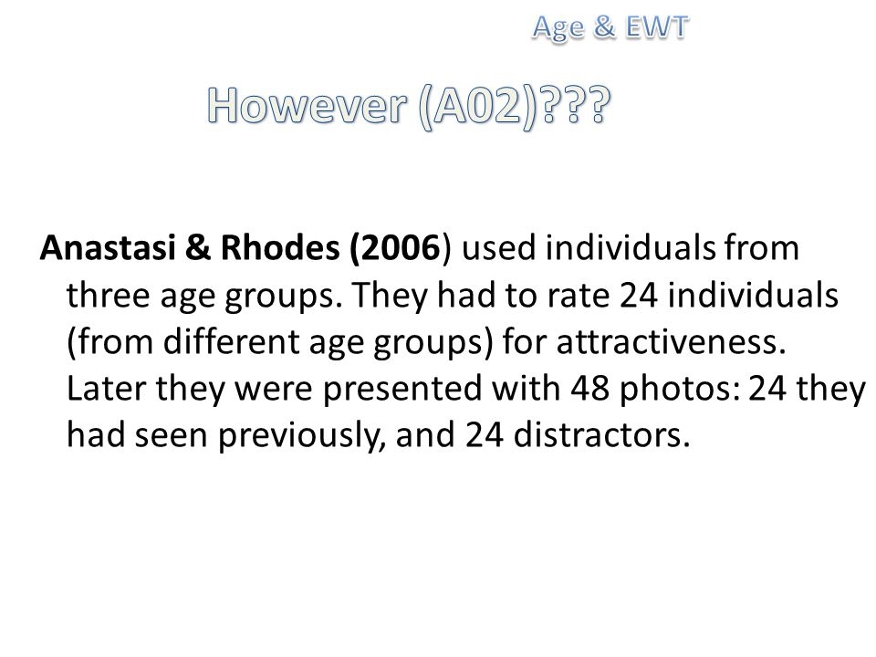 Anastasi & Rhodes (2006) used individuals from three age groups.