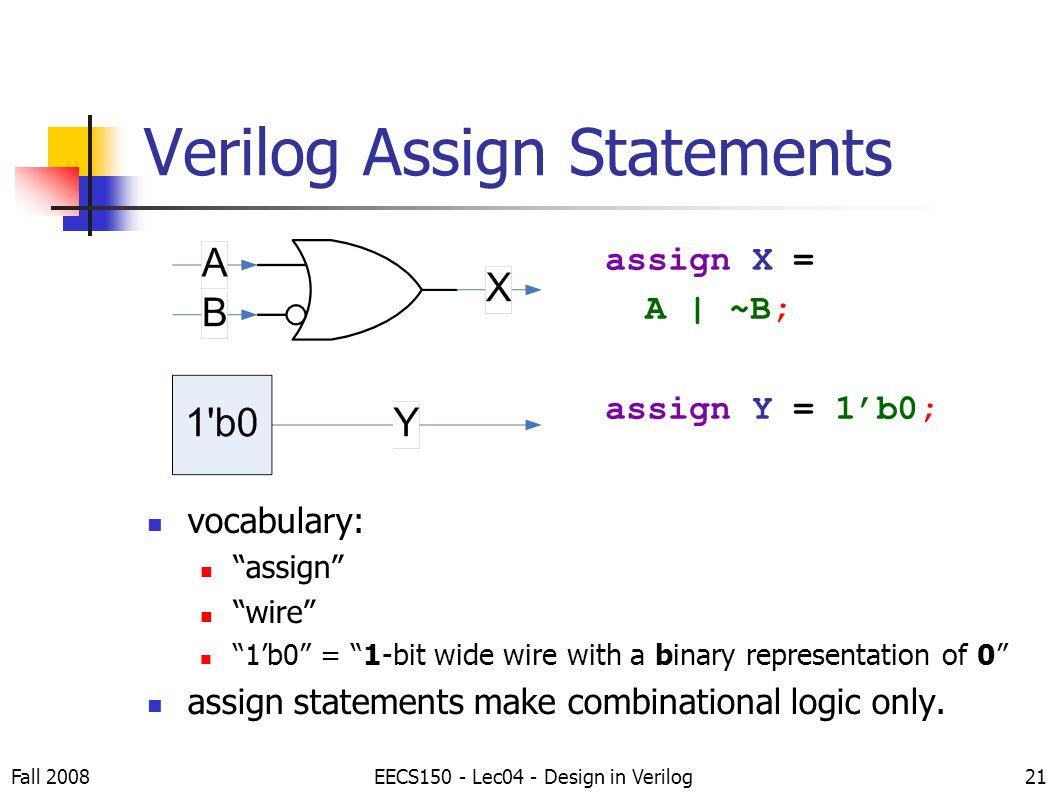 Assign statement in verilog
