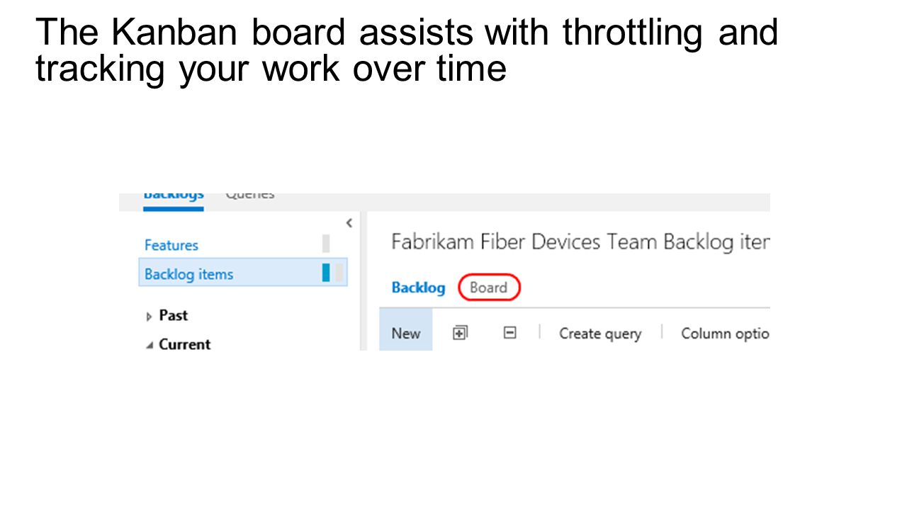 The Kanban board assists with throttling and tracking your work over time