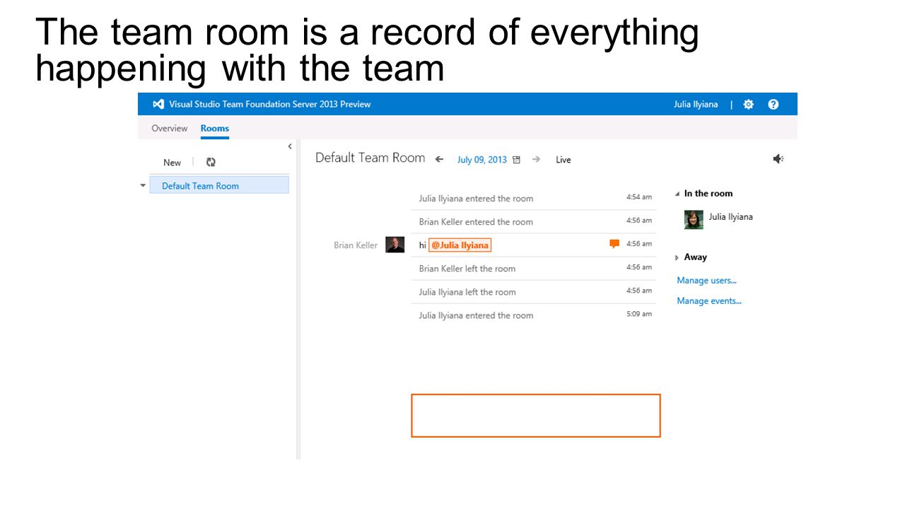 The team room is a record of everything happening with the team