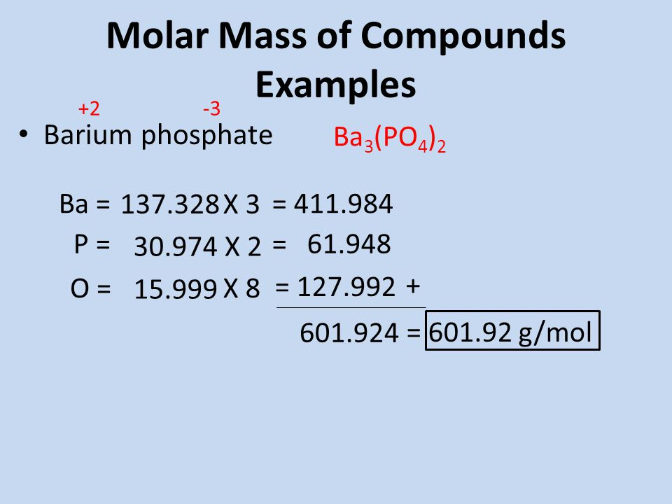 Molar Mass of Compounds Examples Barium phosphate Ba 3 (PO 4 ) 2 Ba = P = X 3 X 2 = = = g/mol O = X 8 =