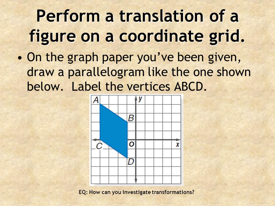 Perform a translation of a figure on a coordinate grid.