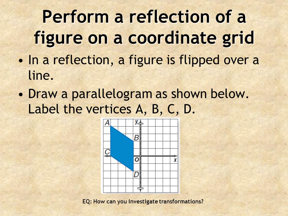 Perform a reflection of a figure on a coordinate grid In a reflection, a figure is flipped over a line.