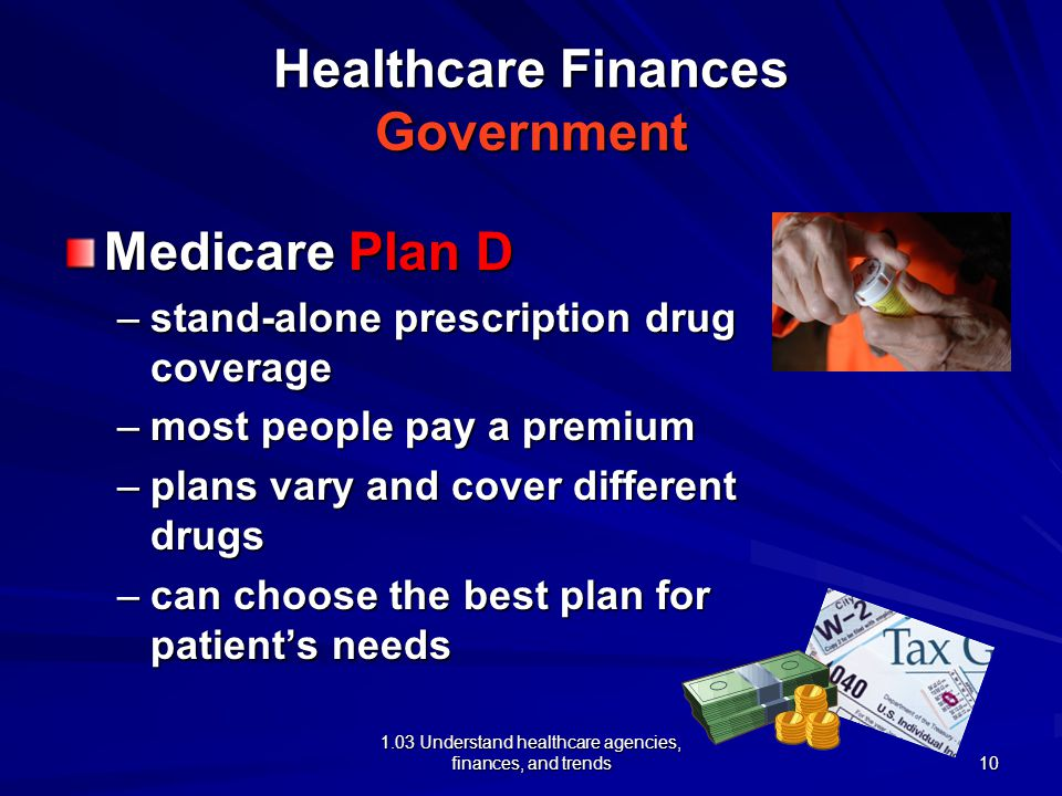 1.03 Understand healthcare agencies, finances, and trends Healthcare Finances Government Medicare Plan D –stand-alone prescription drug coverage –most people pay a premium –plans vary and cover different drugs –can choose the best plan for patient's needs 10