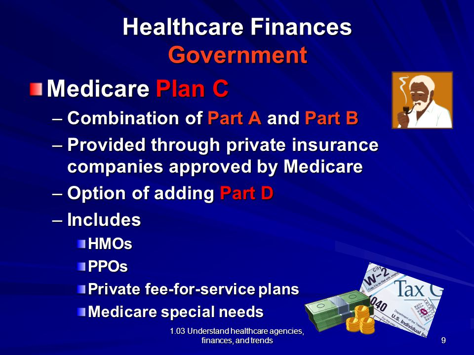 1.03 Understand healthcare agencies, finances, and trends Healthcare Finances Government Medicare Plan C –Combination of Part A and Part B –Provided through private insurance companies approved by Medicare –Option of adding Part D –Includes HMOsPPOs Private fee-for-service plans Medicare special needs 9