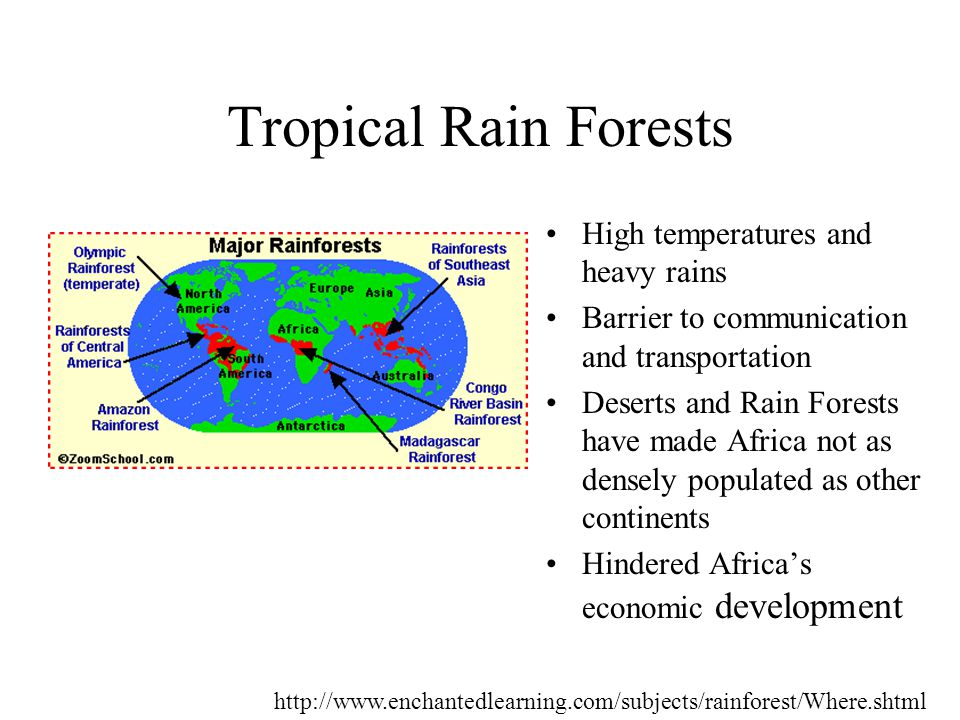 High temperatures and heavy rains Barrier to communication and transportation Deserts and Rain Forests have made Africa not as densely populated as other continents Hindered Africa's economic development Tropical Rain Forests http://www.enchantedlearning.com/subjects/rainforest/Where.shtml