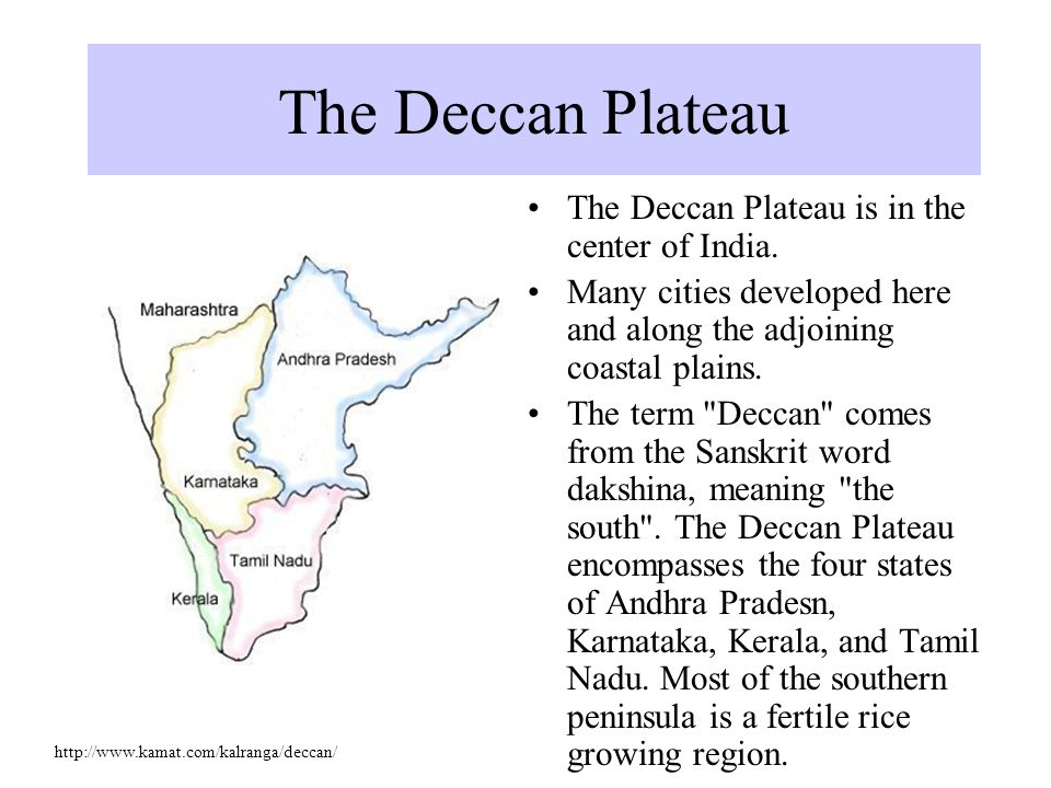 The Deccan Plateau is in the center of India.