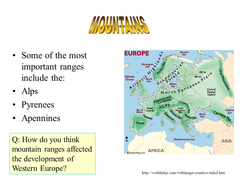 Some of the most important ranges include the: Alps Pyrenees Apennines Q: How do you think mountain ranges affected the development of Western Europe.