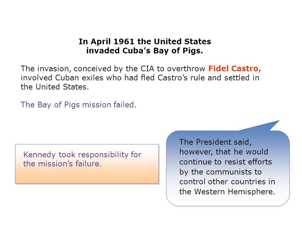 Kennedy took responsibility for the mission's failure.