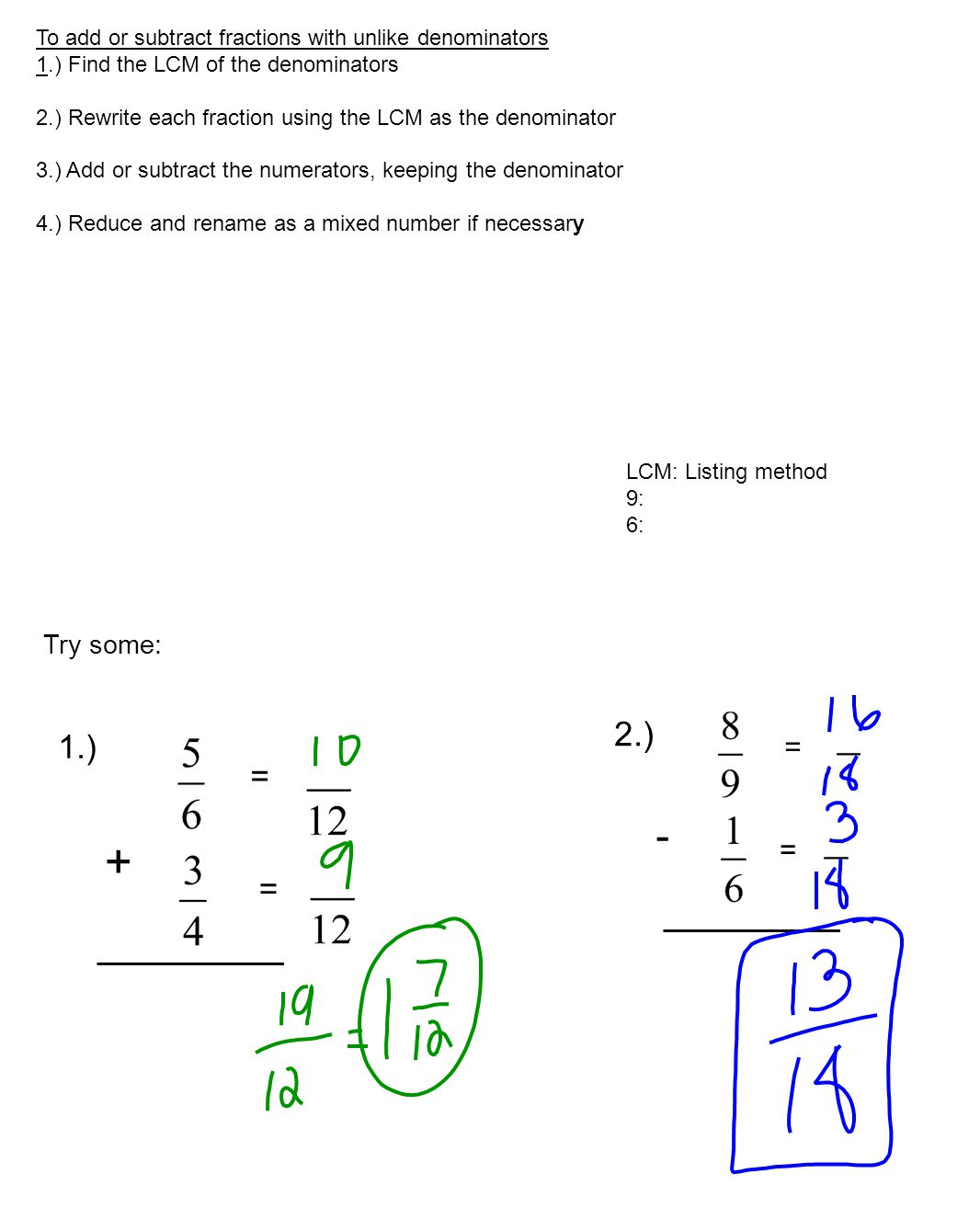 Worksheet Subtracting Different Denominators adding and subtracting unlike denominator fractions subtract math worksheet shade the model to help solve each problem 1 2 and