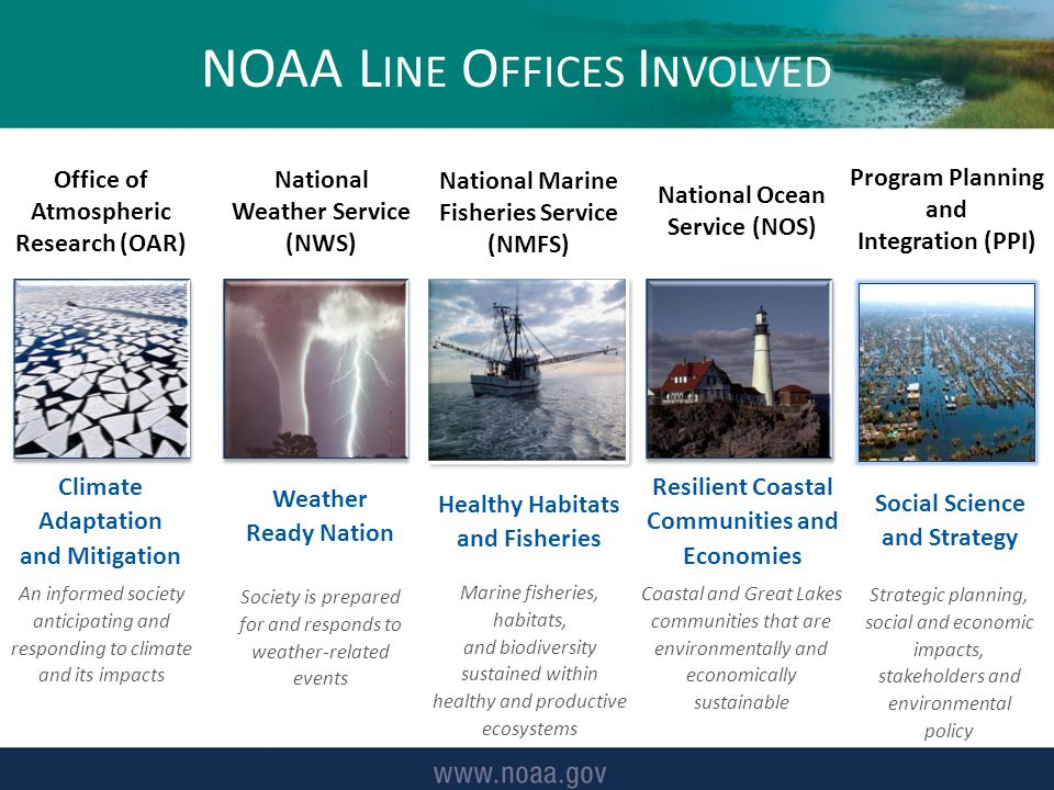 Climate Adaptation and Mitigation NOAA L INE O FFICES I NVOLVED An informed society anticipating and responding to climate and its impacts Weather Ready Nation Society is prepared for and responds to weather-related events Healthy Habitats and Fisheries Marine fisheries, habitats, and biodiversity sustained within healthy and productive ecosystems Resilient Coastal Communities and Economies Coastal and Great Lakes communities that are environmentally and economically sustainable Office of Atmospheric Research (OAR) National Weather Service (NWS) National Marine Fisheries Service (NMFS) National Ocean Service (NOS) Program Planning and Integration (PPI) Strategic planning, social and economic impacts, stakeholders and environmental policy Social Science and Strategy