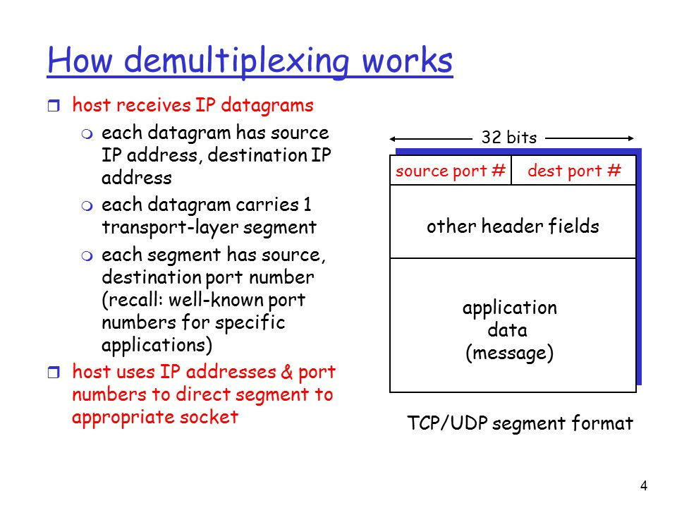 4 How demultiplexing works r host receives IP datagrams m each datagram has source IP address, destination IP address m each datagram carries 1 transport-layer segment m each segment has source, destination port number (recall: well-known port numbers for specific applications) r host uses IP addresses & port numbers to direct segment to appropriate socket source port #dest port # 32 bits application data (message) other header fields TCP/UDP segment format