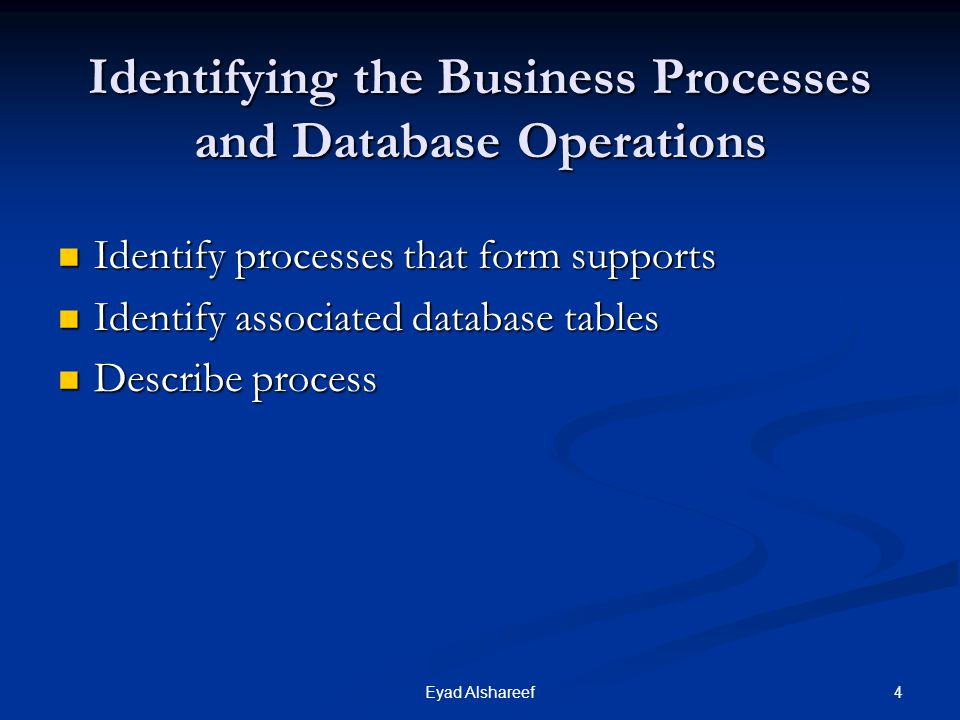 4Eyad Alshareef Identifying the Business Processes and Database Operations Identify processes that form supports Identify processes that form supports Identify associated database tables Identify associated database tables Describe process Describe process