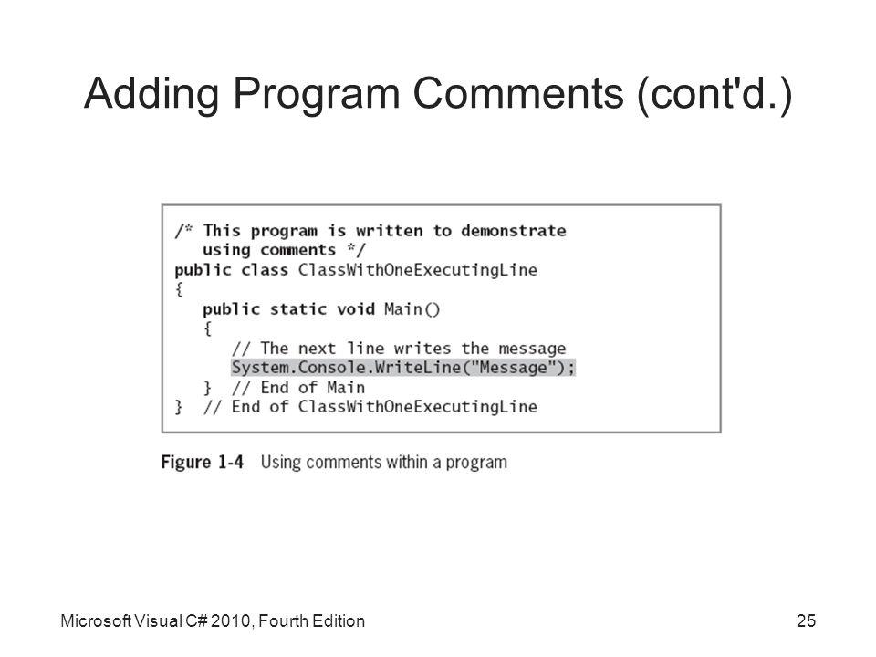 Adding Program Comments (cont d.) Microsoft Visual C# 2010, Fourth Edition25
