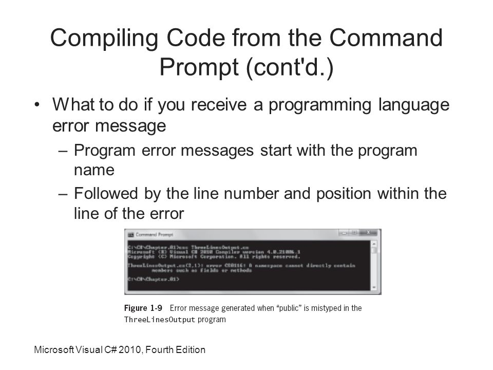 Microsoft Visual C# 2010, Fourth Edition Compiling Code from the Command Prompt (cont d.) What to do if you receive a programming language error message –Program error messages start with the program name –Followed by the line number and position within the line of the error