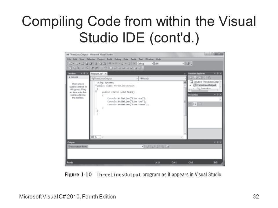 Compiling Code from within the Visual Studio IDE (cont d.) Microsoft Visual C# 2010, Fourth Edition32