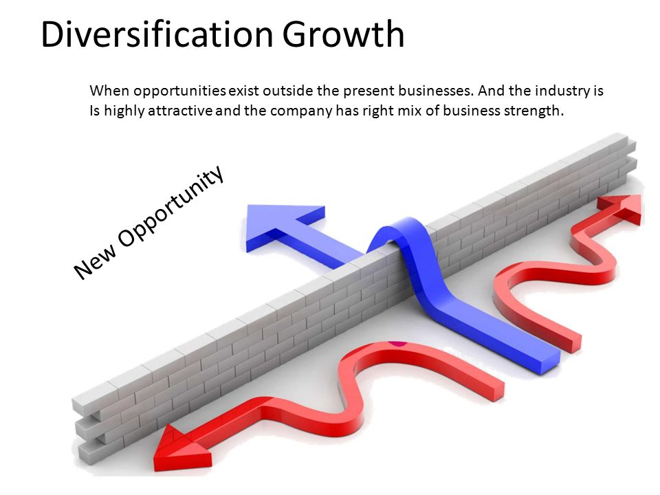 Diversification Growth New Opportunity When opportunities exist outside the present businesses.