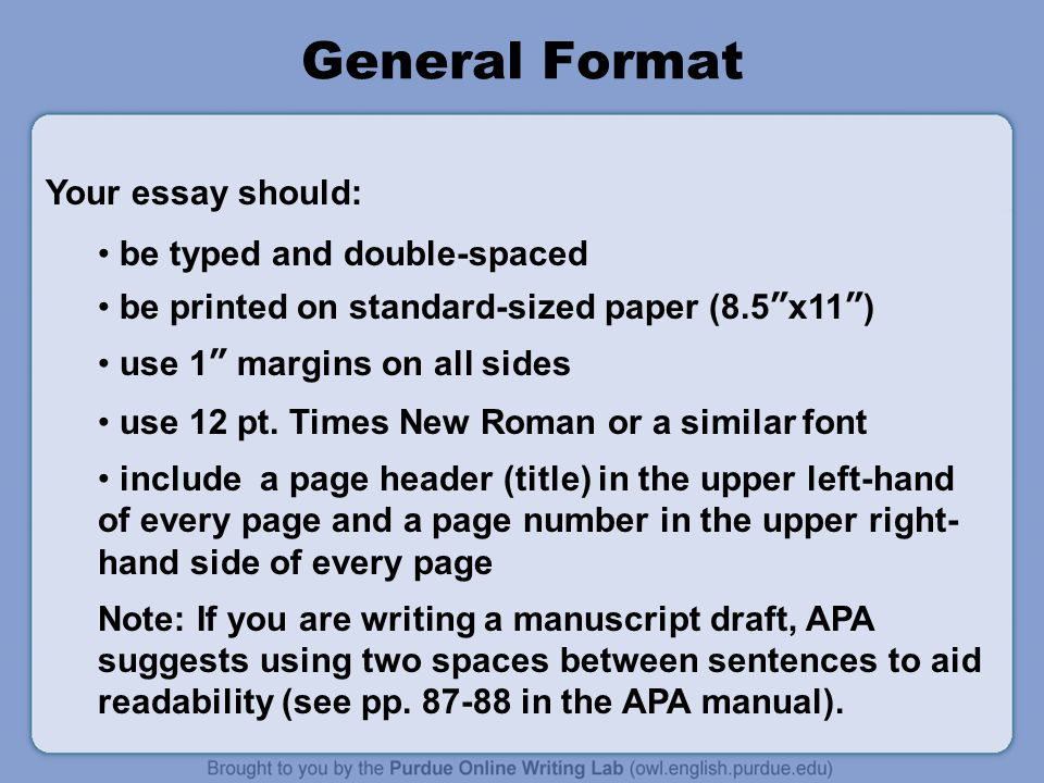 apa format for an essay Professional apa essay help from phd and master's writers contact our custom essay writing service to have your apa essay paper written.