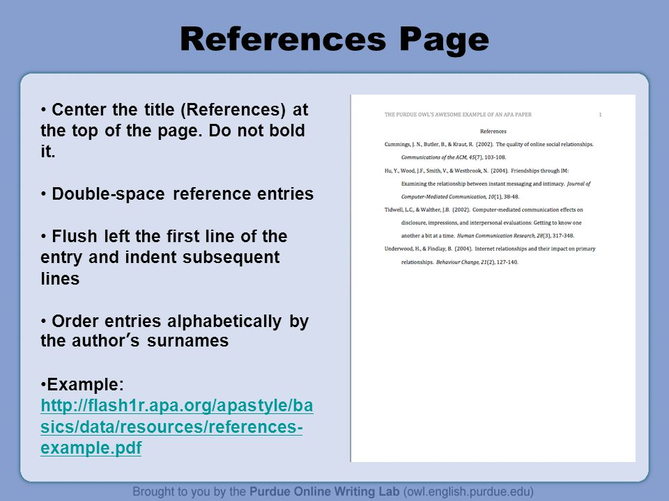 apa reference page purdue owl