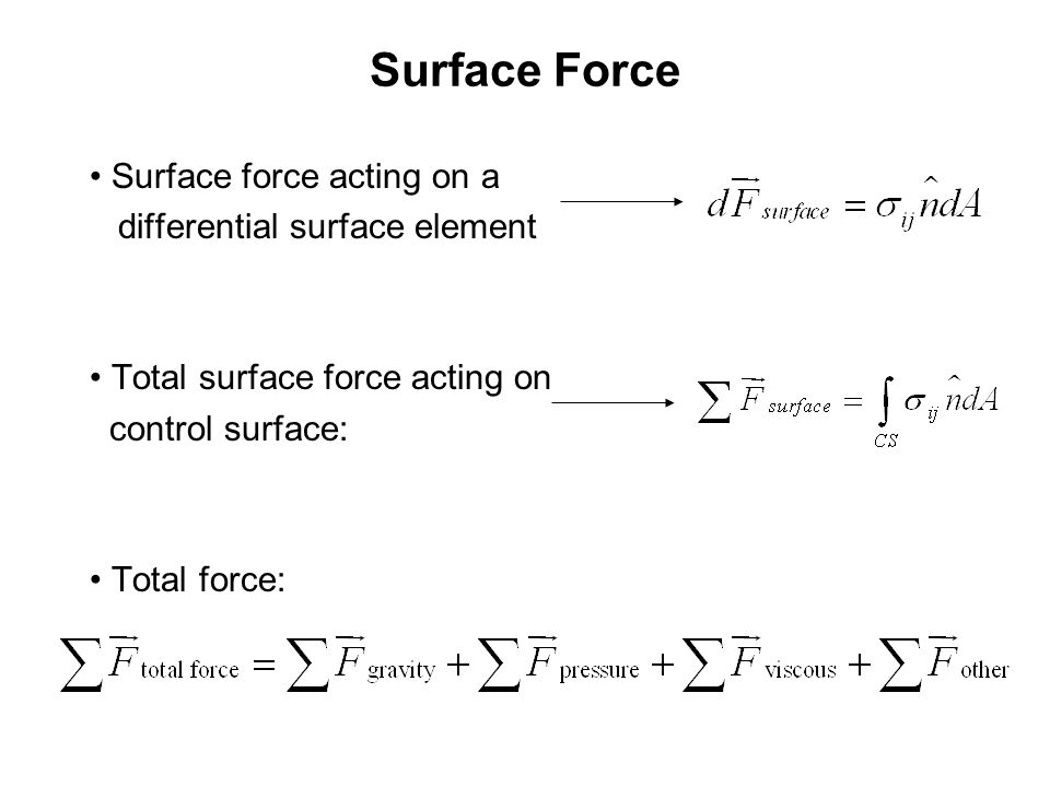 Surface Force Surface force acting on a differential surface element Total surface force acting on control surface: Total force: