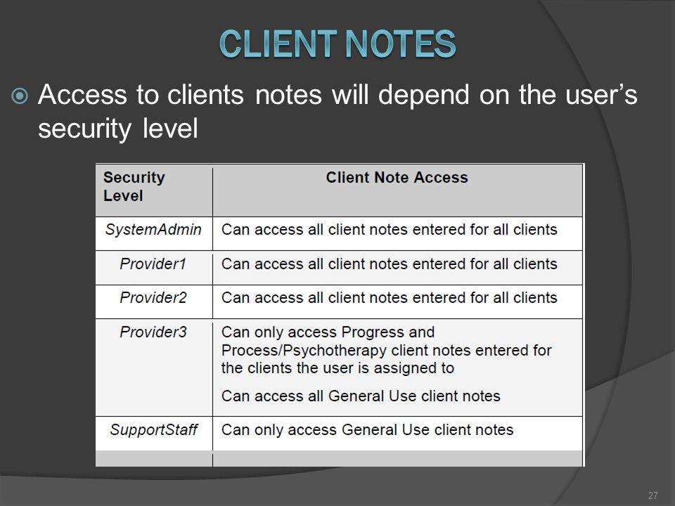  Access to clients notes will depend on the user's security level 27