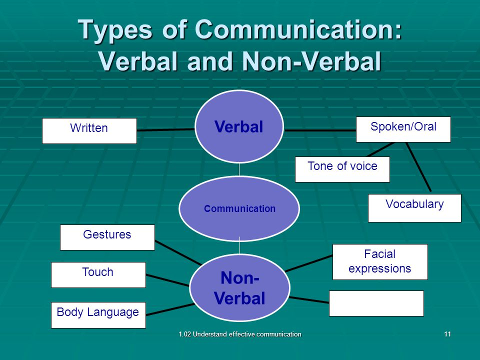 Types of Communication: Verbal and Non-Verbal Body Language Touch Gestures Written Spoken/Oral Tone of voice Facial expressions Vocabulary 1.02 Understand effective communication11 Non- Verbal Verbal Communication