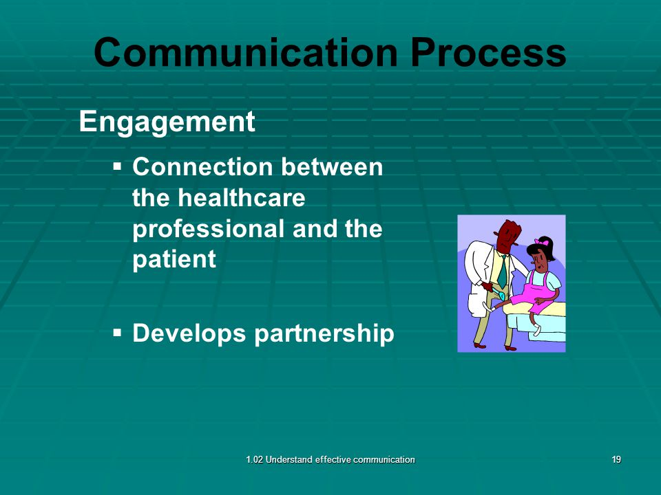 Communication Process Engagement   Connection between the healthcare professional and the patient   Develops partnership 1.02 Understand effective communication19