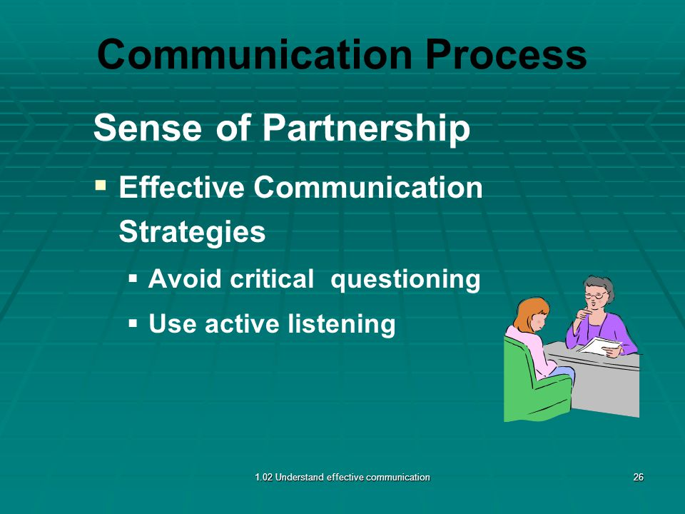 Communication Process Sense of Partnership   Effective Communication Strategies   Avoid critical questioning   Use active listening 1.02 Understand effective communication26