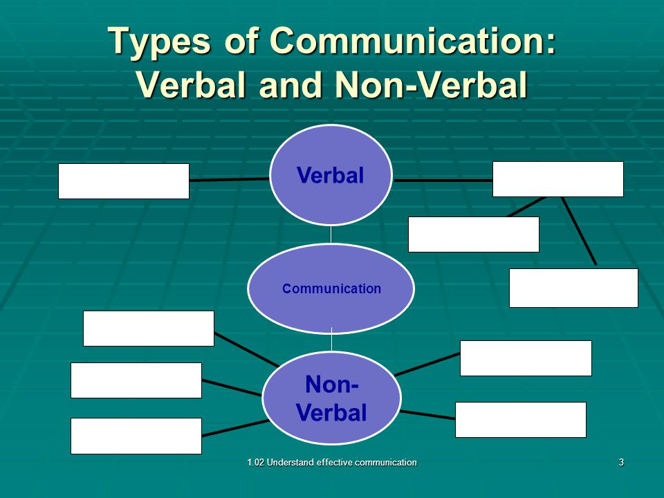 Types of Communication: Verbal and Non-Verbal 1.02 Understand effective communication3 Non- Verbal Verbal Communication