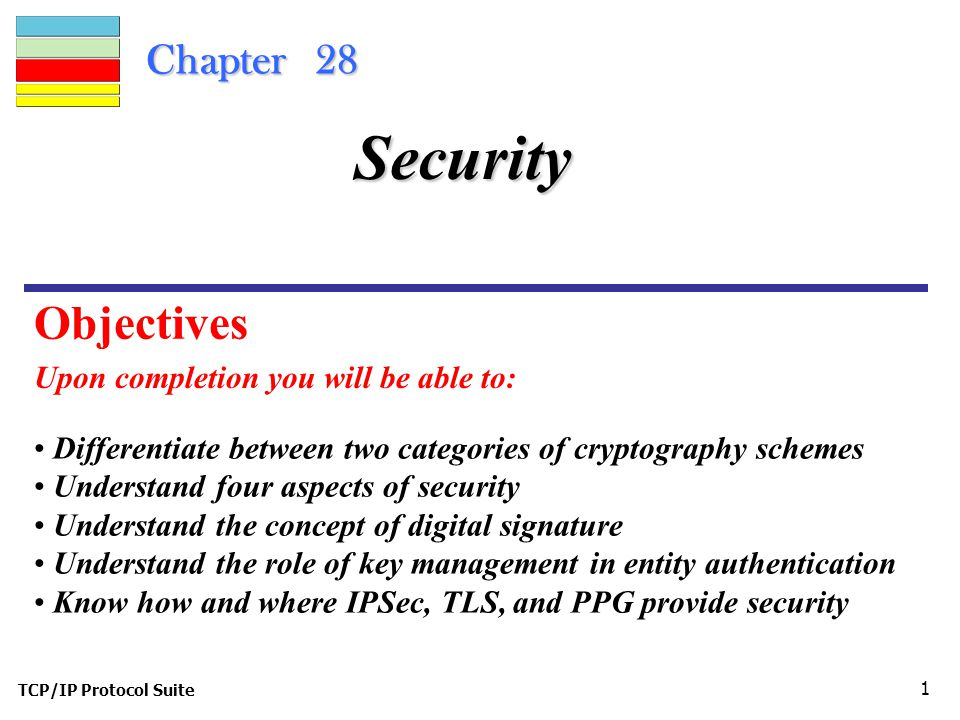 TCP/IP Protocol Suite 1 Chapter 28 Upon completion you will be able to: Security Differentiate between two categories of cryptography schemes Understand four aspects of security Understand the concept of digital signature Understand the role of key management in entity authentication Know how and where IPSec, TLS, and PPG provide security Objectives
