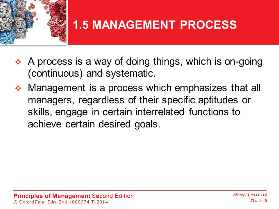 All Rights Reserved Ch. 1: 8 Principles of Management Second Edition © Oxford Fajar Sdn. Bhd. (008974-T) 2014 1.5 MANAGEMENT PROCESS  A process is a