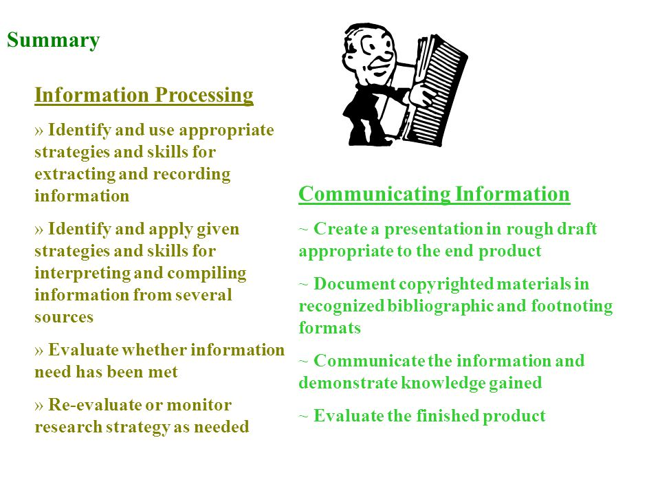 Summary Information Processing » Identify and use appropriate strategies and skills for extracting and recording information » Identify and apply given strategies and skills for interpreting and compiling information from several sources » Evaluate whether information need has been met » Re-evaluate or monitor research strategy as needed Communicating Information ~ Create a presentation in rough draft appropriate to the end product ~ Document copyrighted materials in recognized bibliographic and footnoting formats ~ Communicate the information and demonstrate knowledge gained ~ Evaluate the finished product
