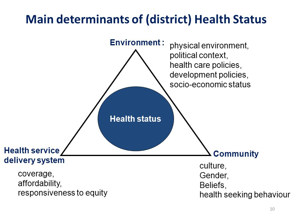 Main determinants of (district) Health Status Health status Environment : Health service delivery system Community 10 physical environment, political context, health care policies, development policies, socio-economic status coverage, affordability, responsiveness to equity culture, Gender, Beliefs, health seeking behaviour