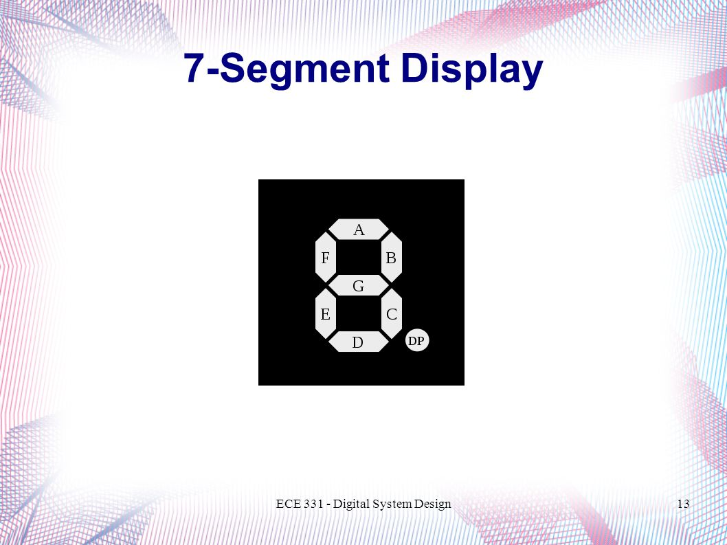 ECE Digital System Design13 7-Segment Display