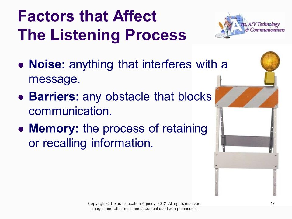 Factors that Affect The Listening Process Noise: anything that interferes with a message.