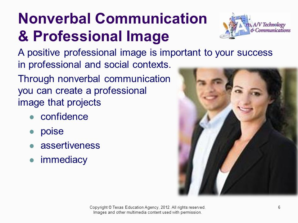 Nonverbal Communication & Professional Image A positive professional image is important to your success in professional and social contexts.