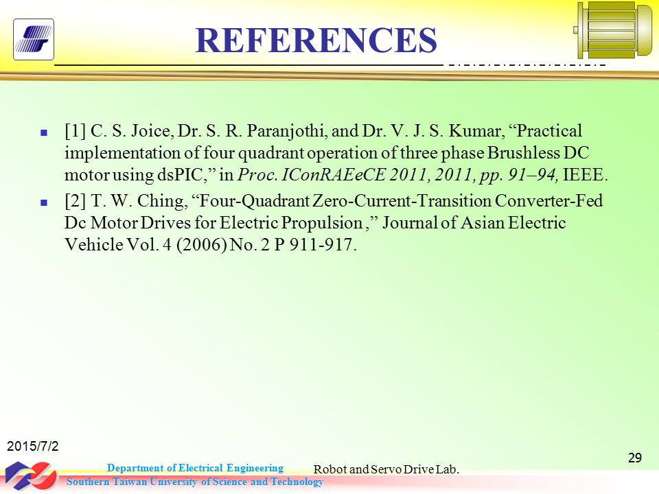 Department of Electrical Engineering Southern Taiwan University of Science and Technology REFERENCES [1] C.