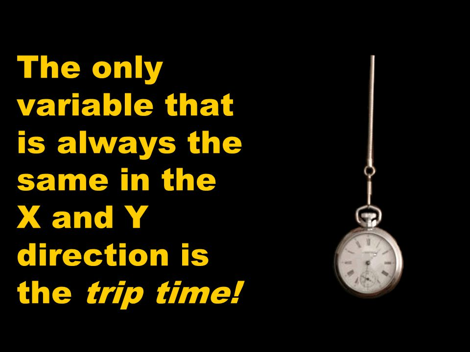 The only variable that is always the same in the X and Y direction is the trip time!