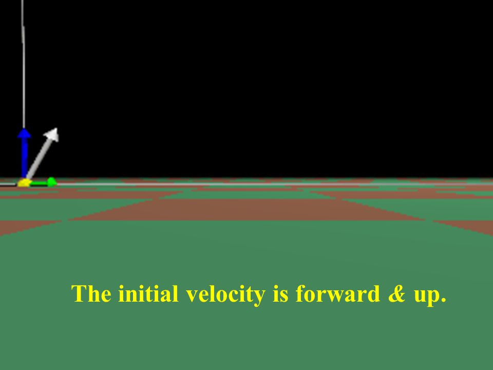 The initial velocity is forward & up.