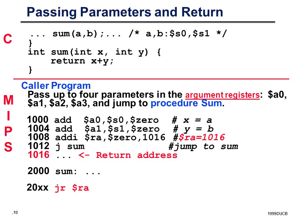 ©UCB Passing Parameters and Return... sum(a,b);...