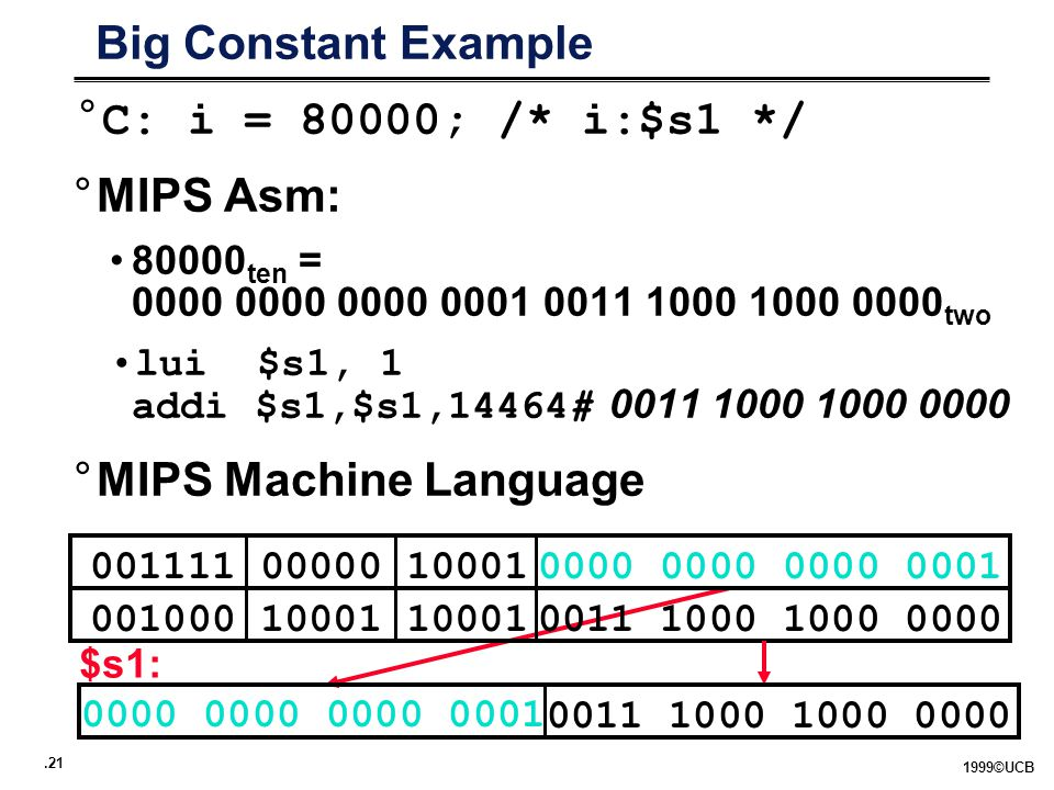 ©UCB Big Constant Example °C: i = 80000; /* i:$s1 */ °MIPS Asm: ten = two lui $s1, 1 addi $s1,$s1,14464# °MIPS Machine Language $s1: