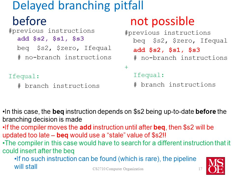 Delayed branching pitfall beforenot possible CS2710 Computer Organization17 #previous instructions add $s2, $s1, $s3 beq $s2, $zero, Ifequal # no-branch instructions Ifequal: # branch instructions #previous instructions beq $s2, $zero, Ifequal add $s2, $s1, $s3 # no-branch instructions + Ifequal: # branch instructions In this case, the beq instruction depends on $s2 being up-to-date before the branching decision is made If the compiler moves the add instruction until after beq, then $s2 will be updated too late – beq would use a stale value of $s2!.