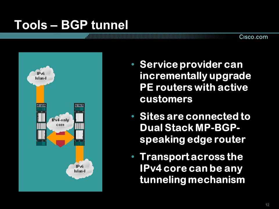 12 Tools – BGP tunnel Service provider can incrementally upgrade PE routers with active customers Sites are connected to Dual Stack MP-BGP- speaking edge router Transport across the IPv4 core can be any tunneling mechanism