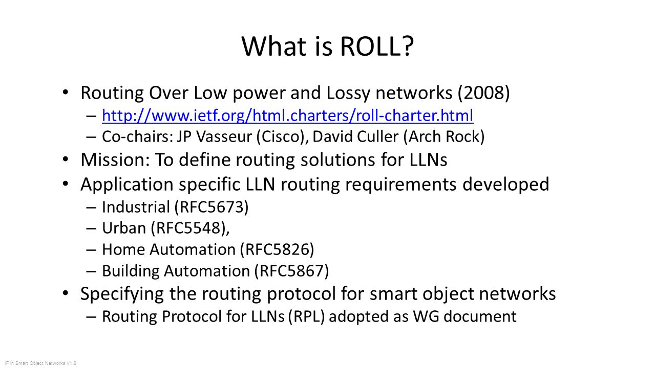 Ip in smart object networks v1 8 what is roll